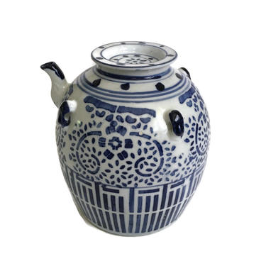 Vintage Chinese Blue and White Porcelain Oil Pot by FunkyRelic