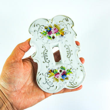 Vintage Porcelain Light Switch Cover / Victorian Floral Switch Cover Plate by blackwellhabitat