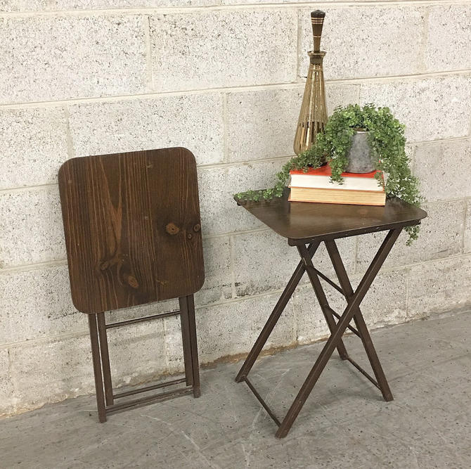 Vintage TV Trays Retro 1960s Set of 2 Matching + Brown + Wood Grain + Folding + Fold Up + Tray + Plant Tables + MCM + Mid Century Home Decor by RetrospectVintage215