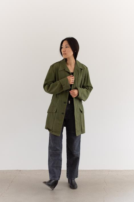 Vintage 60s British Olive Green Drawstring Jacket | Unisex Simple Shop Coat | Cotton Trench | S M | by RAWSONSTUDIO