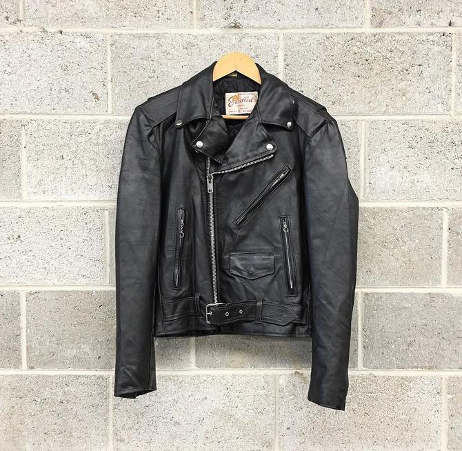 Motorcycle Jacket Retro 1970s Excelled + Genuine Leather + Size 40R + Quilted Lining + Zipper Sleeves + Belted + Apparel by RetrospectVintage215