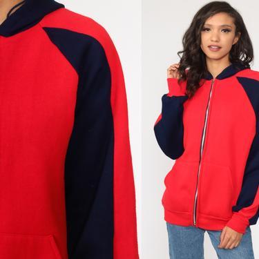 Hoodie Sweatshirt Red Zip Up Sweatshirt 80s Hooded Track Jacket Retro STRIPED Navy Blue Hood 1980s Vintage 70s Medium Large by ShopExile