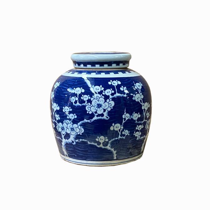 Chinese Blue White Porcelain Blossom Flowers Graphic Ginger Jar ws1411E by GoldenLotusAntiques