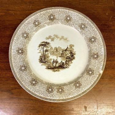 Antique 1800s James and Thomas Edwards Staffordshire Sirius Brown Transferware Dinner Plate by OverTheYearsFinds