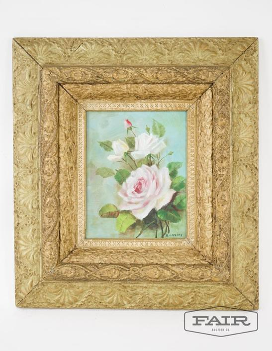 Framed Rose Painting on Canvas by B. Lazenby