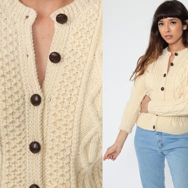 Fisherman Sweater WOOL Cardigan Cable Knit 70s Boho Cream Sweater Bohemian Chunky Grandpa Vintage 80s Button Up Cableknit Extra Small xs by ShopExile