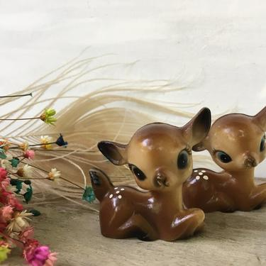 Miniature Plastic Deer, Set Of 2 Big Blue Eyed Fawns, Kitschy, Diorama Deer, Christmas Display, Made In Hong Kong by luckduck