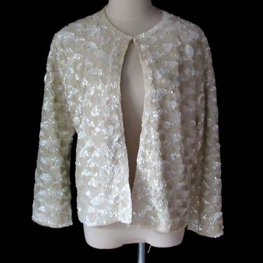 Vintage 50s Sequin Oyster White Sweater Large Pin Up Holiday Cocktail Sweater by GraveyardVintage