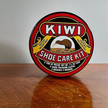 Vintage Storage Tin, Kiwi Shoe Polish Care Kit - Bold Graphics, Red Black Gold White Brown, Round, Lidded, Empty, Man Cave Decor by VenerablePastiche