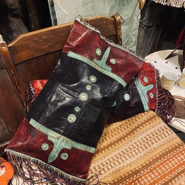 Antique African Leather Pillow Covers
