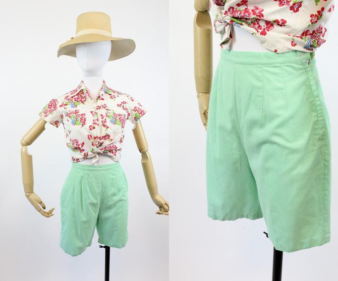 1950s mint cotton shorts xs | vintage bradley shorts by CrushVintage