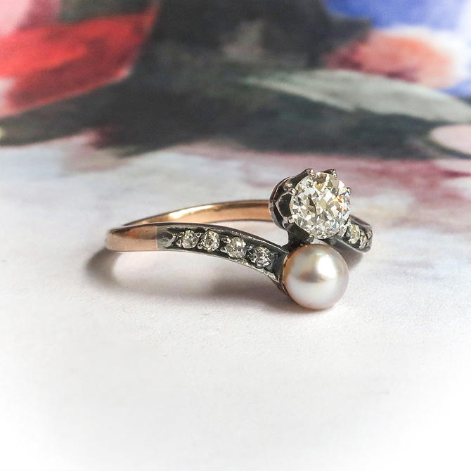 NOT FOR SALE--Installment Payment 2of4 Due 10/14----Diamond and Pearl Toi et Moi Ring 1900's .43ct t.w. 14k Silver by YourJewelryFinder