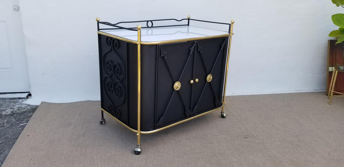 1950's French / Hollywood Regency Style  Metal And Brass  Bar Cart . by MIAMIVINTAGEDECOR