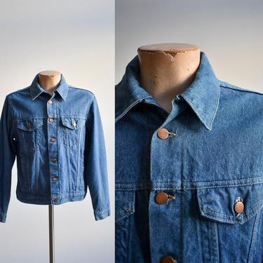 Vintage 1970s Dark Wash Denim Jacket by milkandice