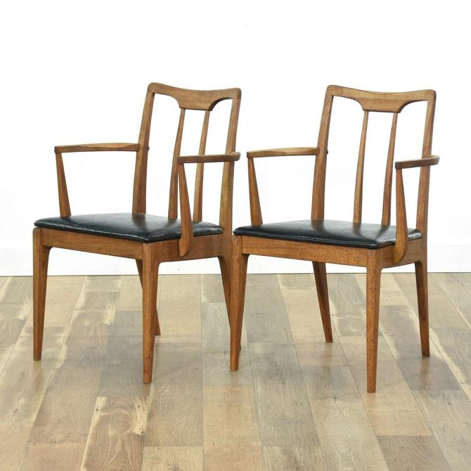 Pair Drexel Projection Walnut Mid Century Modern Chairs