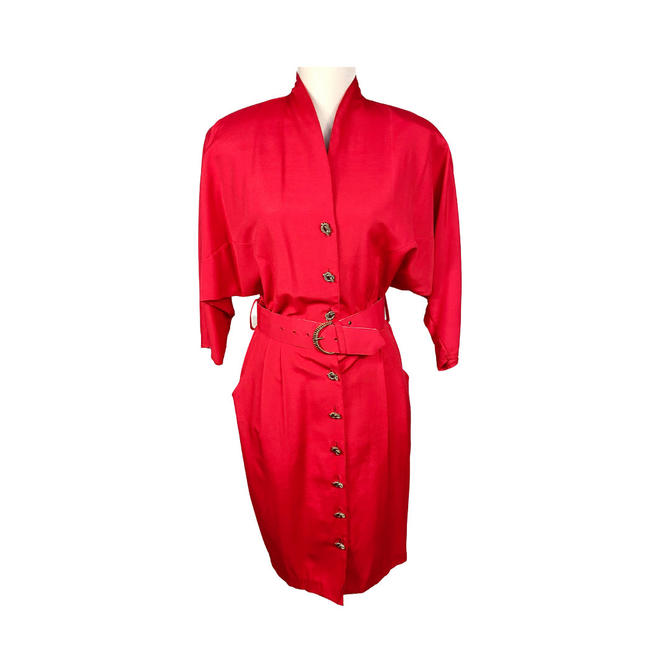 Vintage Clothing 80s Shirtwaist Dress, Lightweight Red Dress Shoulder Pads Gold Braided Pretzel Buttons, Size 8 Pleated Hips Dresses by DakodaCo