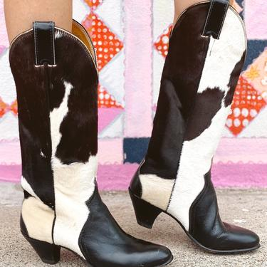 Heeled Cowhide Cowgirl Boots
