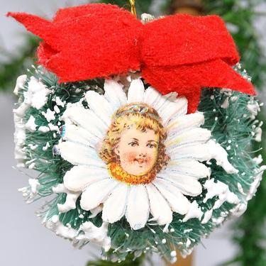 Vintage Sisal Bottle Brush Wreath Ornament with Flower Girl Scrap, Retro Christmas Decor by exploremag