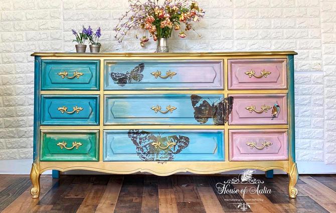 Vintage French Provincial Dresser. Antique Triple Dresser. Boho Nine Drawer Lowboy. Master Bedroom. Eclectic Living Room Console by HouseofAalia