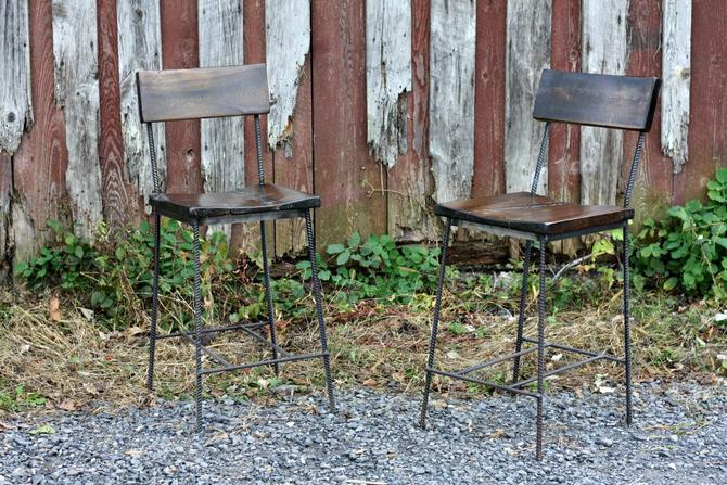 Free Shipping! Urban Elegance Scooped Seat Rebar and Reclaimed Wood Chairs and Bar Stools - Great for restaurants, bars and cafes! by BarnWoodFurniture