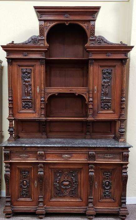 Item #DR62 19th Century Carved Mahogany English Hutch w/ Marble c.1880s
