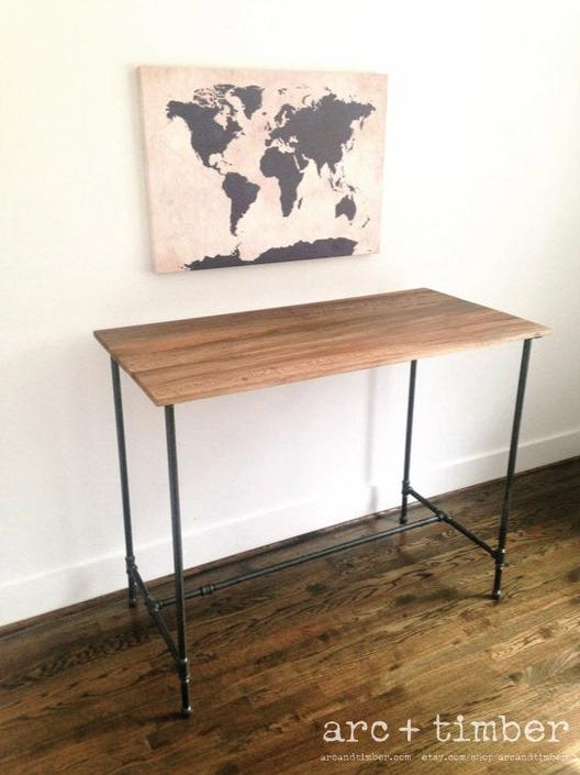 The CAYUGA Standing Desk - Reclaimed Wood & Pipe - Standing Desk by arcandtimber
