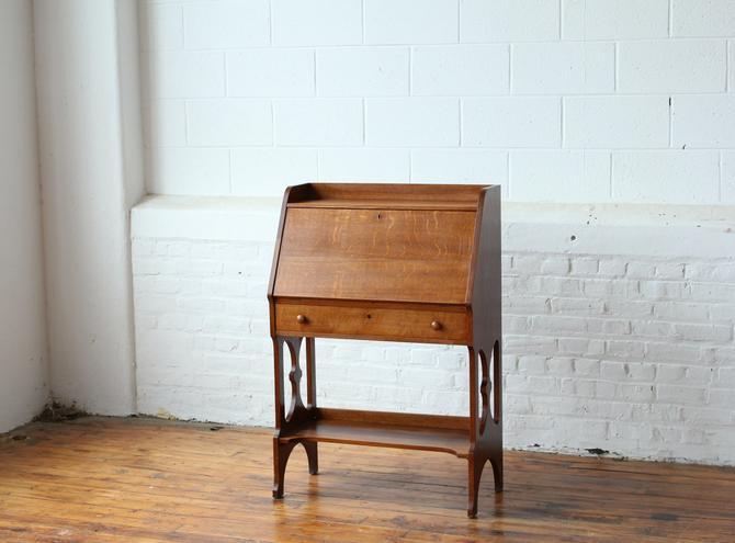Vintage Solid Oak Secretary Desk by NijiFurnishing