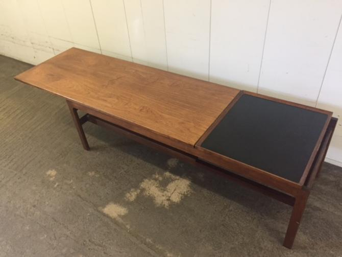Long Danish Rosewood Coffee Table w/ Extending Top & Tray
