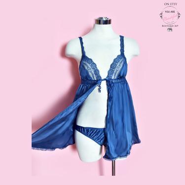 Vintage Lingerie SET Panties & Camisole Bra by Vassarette, 32 Small, Blue 1960's, 1970's by Boutique369
