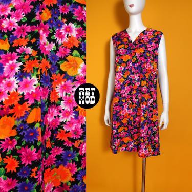Groovy Vintage 60s 70s Neon Orange Pink Black Purple Flower Power Barkcloth Sleeveless Shift Dress by RETMOD