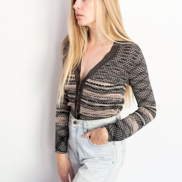 Vintage Missoni Zig Zag + Striped Knit Cardigan Sweater Button Up XS S V Neck 90s Y2K Gray Yellow M by Missoni by backroomclothing