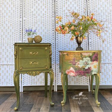 French Provincial Drum Table.  Vintage Night Stands.  Pair of Tables. Roses Pink Green End Table. Bombay Chest. FREE SHIPPING. by HouseofAalia