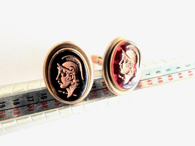 Mid Century Red Glass Intaglio Warrior Head Cufflinks by LegendaryBeast