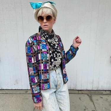 Vintage Sequin Jacket 80s Party Outfit 1980s Clothing High Fashion by LoveItShop