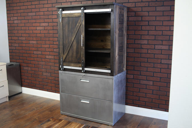 2-drawer Lateral cabinet with sliding door wood cabinet above / office furniture / rustic industrial / storage unit by TheRusticForest