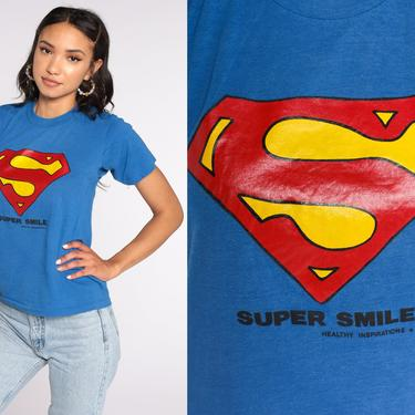 Superman Shirt 80s Screen Stars Super Smile Shirt DC Comics Superhero Shirt Graphic Tshirt 1980s Vintage T Shirt Extra Small xs by ShopExile