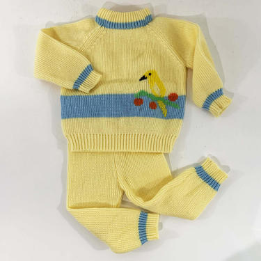 Vintage Bird Sweater Baby Outfit 12mo Kids Babies Toddler Childrens Knitted 2 Piece Jumper Pants Yellow Blue Fully Fashioned by CheckEngineVintage