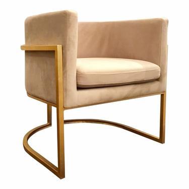 Worlds Away Modern Cream and Gold Barrel Back Jenna Lounge Chair
