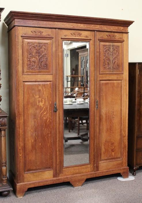 AI44 Mirror Front Oak Armoire with Hand-Carved Panels