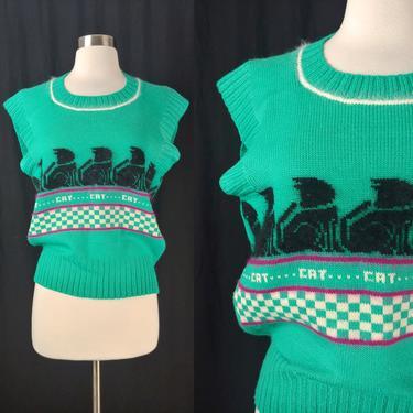 Vintage Eighties Green Cap Sleeve Cat Cat Cat Sweater - 80s Unique Cat Knit Sweater - Ari Barrie Medium by JanetandJaneVintage