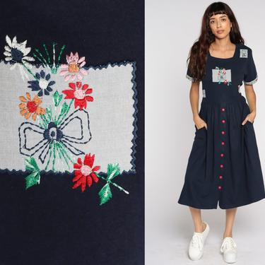 Navy Floral Dress Embroidered Midi Grunge Button Up Dress 80s Granny 90s Bohemian Sheath 1990s Short Sleeve Vintage Cotton Medium by ShopExile