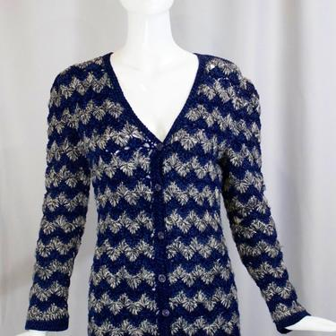 70s  YSL Yves Saint Laurent blue white zig zag striped CROCHET knit fitted sweater button up long cardigan S small 1970s vintage by ritualvintage