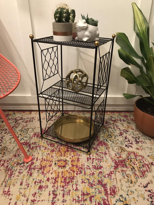 Metal Side Table, Plant Stand Rack, Mid Century Vintage Wire, Book Case Shelf, black and brass metal etagere telephone stand by VintageCoreReStore