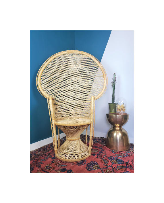 FREE SHIPPING Vintage Wicker Peacock Chair Hourglass Base   Boho Rattan Peacock Chair Throne Wingback/Fan-back Seat by SavageCactusCo