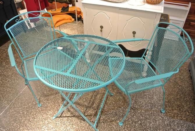 Blue three piece patio set. $195
