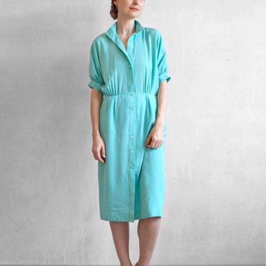 Minimalist shirt dress / silky aqua dress /  summer turquoise dress / 90s day dress / S by EELT