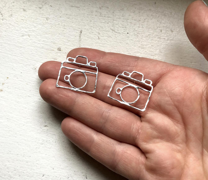 Camera Earrings Handmade Sterling Silver Old Fashioned Camera Photographer Jewelry by RachelPfefferDesigns
