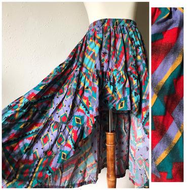 Vintage samba flamenco fishtail high low skirt sz small to medium New Mexico by honeycombvintage