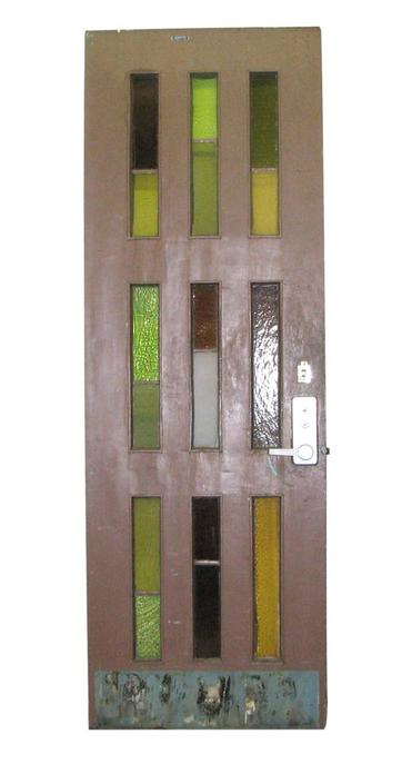 Antique Stained 9 Vertical Stained Glass Door 94.5 x 32