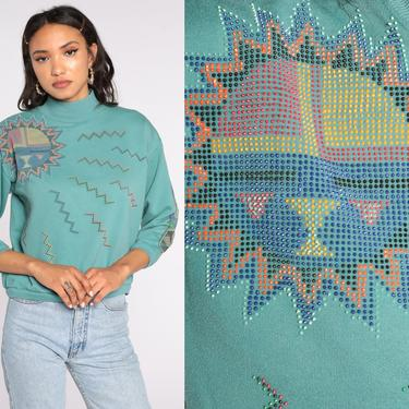 Native American Sweatshirt Sun Shirt Eagle Totem Spirit Animal 80s Graphic Jumper Slouchy Sweater Vintage Green Small by ShopExile